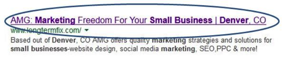 The title tag in Google Results